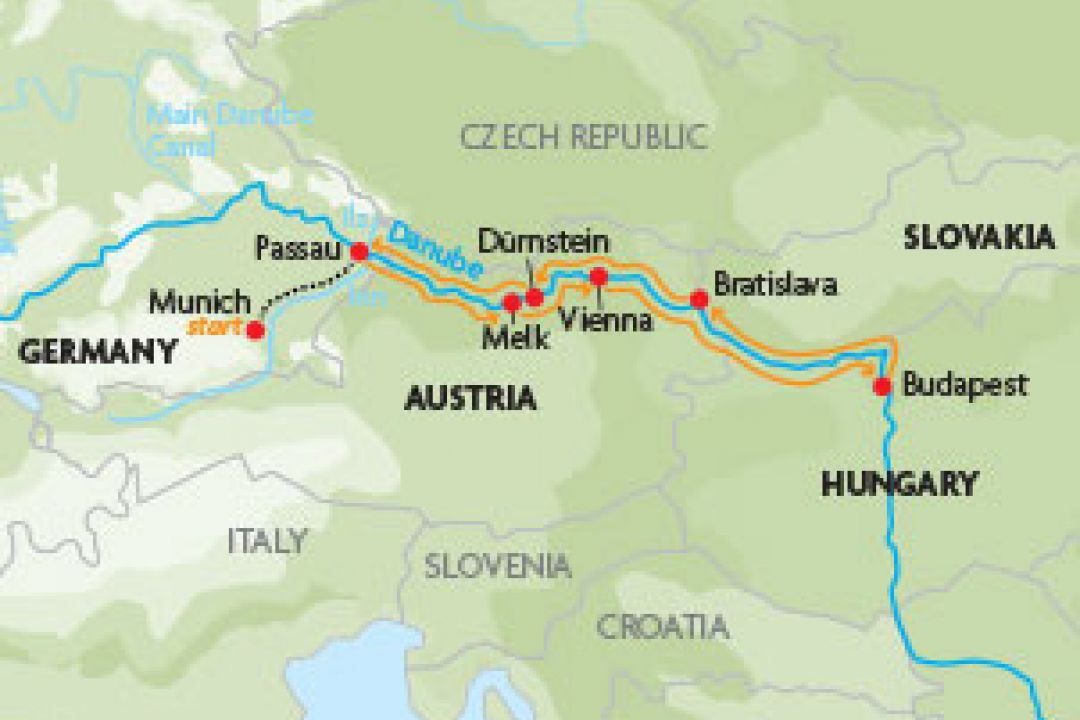 Map cruise the danube